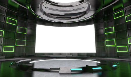 Futuristic and Sci-Fi design stage interior with neon light and blank  screen background . 3d illustration rendering .