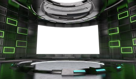 Interior de escenario de diseño futurista y de ciencia ficción con luz de neón y fondo de pantalla en blanco. Representación 3d de la ilustración.