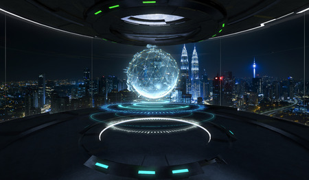 Futuristic interior design empty space room with virtual globe with connected dots wireless communication network on space and . Global business concept . Mixed media .