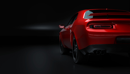 Rear left angle view of a generic red brandless American muscle car on a black background . Transportation concept . 3d illustration and 3d render. Imagens