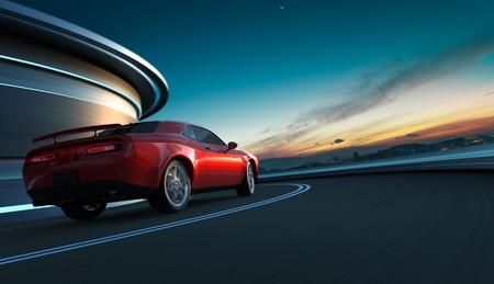 Vista di angolo posteriore di una muscle car americana senza marchio rossa generica in una strada di città con sfocatura di movimento. Concetto di trasporto. Rendering 3D. Tecnica mista.