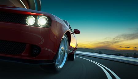 Closeup front and low angle view of a generic red brandless American muscle car in a city street road with motion blur . Transportation concept . 3D Rendering . Mixed media .