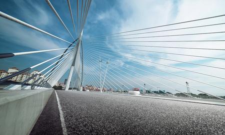 Modern cable-stayed bridge asphalt highway .