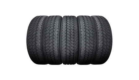 Car tyres pile isolated on white background Stock Photo