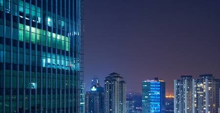 Modern business skyscrapers and  high-rise buildings, commercial center. night scene .