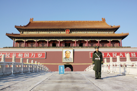 Beijing, China - on March 12, 2011: tiananmen building is a symbol of the People's Republic of China.Located in the capital of the People's Republic of China, the center of Beijing