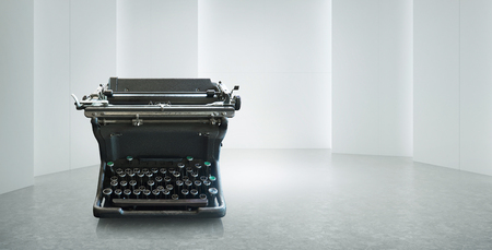 Old vintage retro black Typewriter on white empty space Reklamní fotografie
