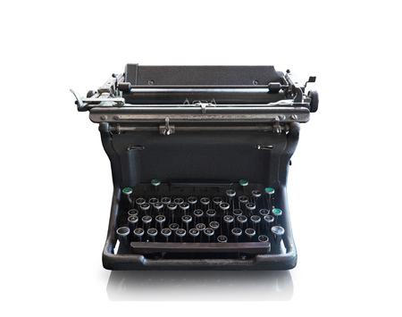 Old vintage retro black Typewriter on white background