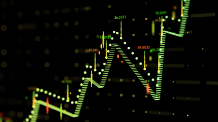 Close up of financial business chart with diagrams and stock numbers showing  uptrend and downtrend . Фото со стока