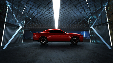 Side angle view of a generic red brandless American muscle car park at a modern garage . Transportation concept .3d illustration and 3d render.