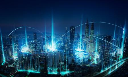 Concepto de conexión de red y paisaje urbano abstracto moderno.