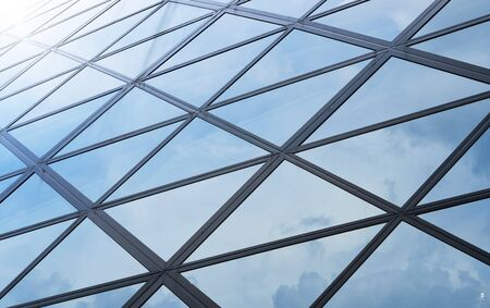 Modern architecture business building details steel and glass facade background .
