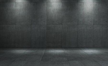 Piastrelle quadrate in cemento scuro in stile loft industriale a parete e pavimento con sfondo di illuminazione spot.