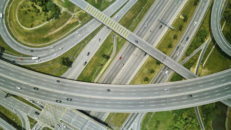 Aerial view of highway and overpass in city located at Kuala Lumpur ,Malaysia .