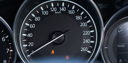 Close up of modern speedometer display in a car dashboard panel . Stockfoto