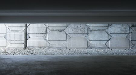 Basement indoor empty car park with cement facade . Banque d'images - 129496421