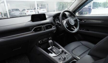 Modern black car dashboard interior , luxury car interior concept . 免版税图像