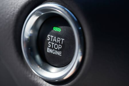 Closeup of a modern car interior with Start Stop engine button Stockfoto