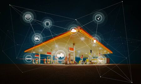 Gas station,traffic,vehicles, wireless communication network, internet of things. Smart automobile concept . Foto de archivo - 129496465