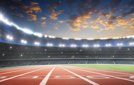 Piste de course d'athlète avec numéro au départ dans un stade . Scène du soir. Banque d'images