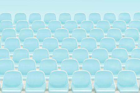 Light  blue rows of seats on the stadium . Imagens