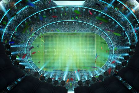 Aerial top angle view of imaginary soccer stadium with illumination 3D rendering