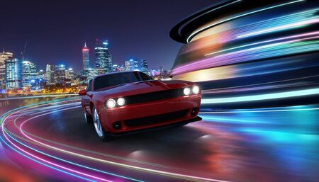 HIgh speed generic red sports car driving in the city with neon light motion effect applied . Automobile futuristic technology concept . 3D rendering and mixed media composition .