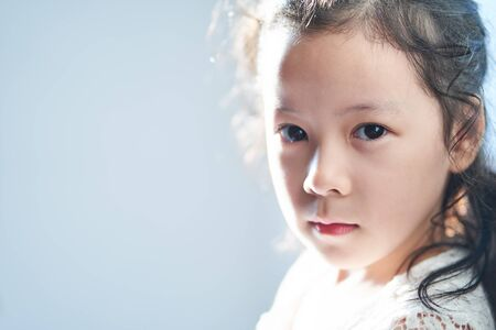 Closeup retrato de niña bonita asiática