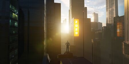 Young businessman standing on rooftop of a skyscraper watching 2020 new year digital billboard . Big city at sunrise scene .Desire for success concept. Mixed media .