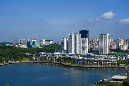 Aerial view of Putrajaya city with lake at noon in Malaysia, Asia. Reklamní fotografie