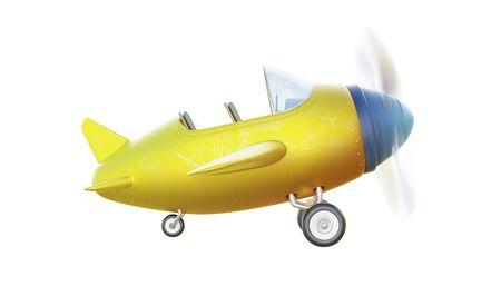 Vue latérale d'un avion à deux places jaune et bleu mignon rétro isolé sur fond blanc. Rendu 3D.