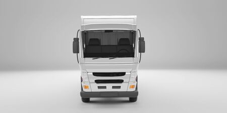 Front angle view of delivery truck 3D rendering