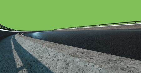 Low angle view of curve asphalt road at night , isolated on green background 3d rendering
