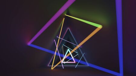 Abstract glowing vibrant  neon light in triangle dark room . 3D rendering .