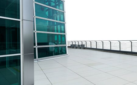 Exterior of a modern glass wall facade building with clean marble floor . isolated on white background .