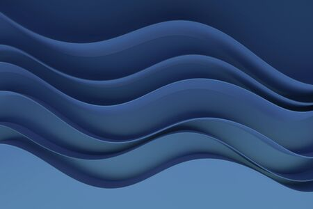 Abstract blue waves background.3d Rendering.