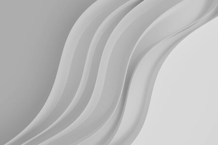 Abstract white waves background.3d Rendering.