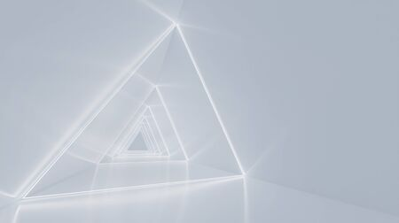 Abstract glowing white fluorescent light in triangle space room . 3D rendering .