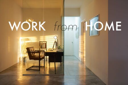 Soho office interior with sunset golden hour lighting and shadow , cozy and peaceful atmosphere,work from home concept