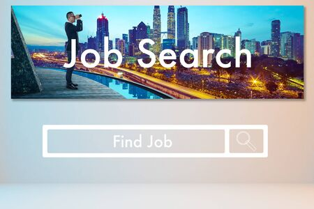 Horizontal banner of business man use the telescope to searching job, online recruitment and vacancy layout web page design .