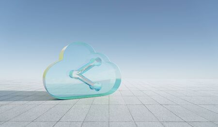 3d rendering digital techno transparent glass symbol of cloud with data share icon on floor with blue sky background. Imagens