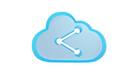 3d rendering digital techno transparent glass symbol of cloud with data share icon isolated on white background