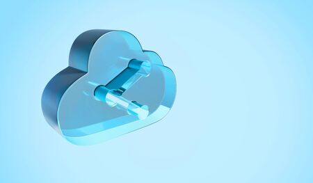 3d rendering digital techno transparent glass symbol of cloud with data share icon isolated on blue background
