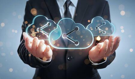 Businessman offering cloud computing service concept Imagens