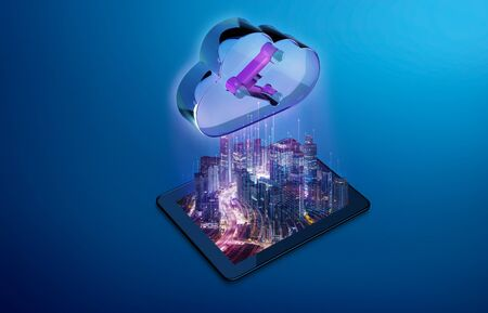 Virtual night city in digital tablet uploading data to digital cloud storage. Abstract futuristic cloud fast speed technology concept. Mixed media Imagens