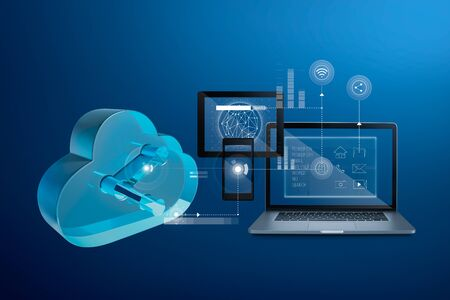 Cloud storage technology concept with computer, digital tablet, smartphone and upload download data information design.