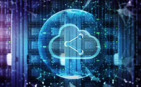 Big data storage network and cloud computing technology concept . Imagens