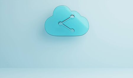 Empty clean room with 3d rendering digital techno transparent glass symbol of cloud with data share icon Imagens