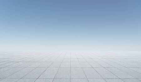 Empty square concrete floor with morning bright clear sky background
