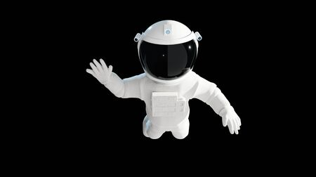 Floating Astronaut waving,  isolated on black background with clipping path. 3D rendering. Imagens